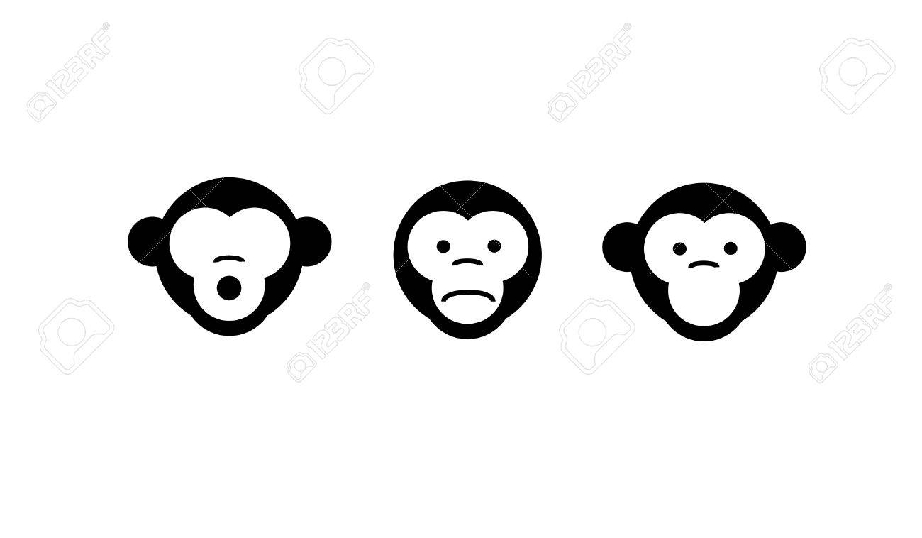 See no evil, hear no evil, speak no evil. Vector illustration. three monkeys
